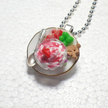 Strawberry Icecream Pendant. Polymer Clay.