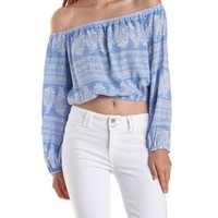 Lt Blue Combo Off-the-Shoulder Paisley Print Top by Charlotte Russe