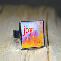 JOY Ring Inspirational Jewelry Word Art Rings Adjustable Handmade Resin Rings Joy Jewelry Colorful Ring