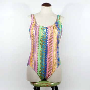 Gold Neon Swimsuit Vintage 1990s Shiny One Piece Bathing Suit
