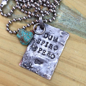 Dum Spiro Spero Necklace, inspirational Latin quote jewelry, Cicero quotes