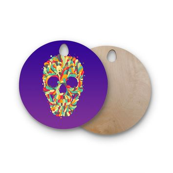 "Roberlan ""Jelly Skull"" Purple Multicolor Round Wooden Cutting Board"
