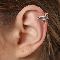 925 Sterling Silver Jewelry Animal Frog Ear Cuff Earring