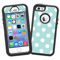 """White Polka Dot on Mint """"Protective Decal Skin"""" for OtterBox Defender iPhone 5s Case"""
