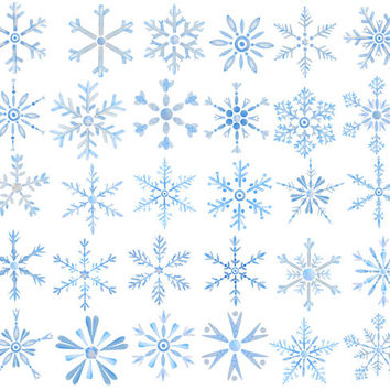 Hand painted watercolor clipart snowflakes snow flakes instant download scrapbook, christmas cards, wedding invitations, fabric printing