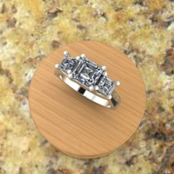 3 Princess Cut Diamond Ring – custom design by Elegant Jewelers