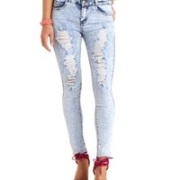 High-Waisted Destroyed Acid Wash Skinny Jeans