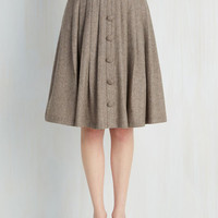 Scholastic Mid-length Full Intern of Fate Skirt in Latte