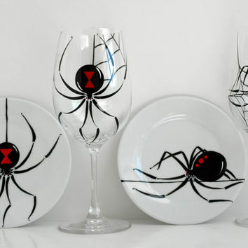 Black Widow Spider Plates--Set of 4 Hand Painted Halloween Appetizer Plates