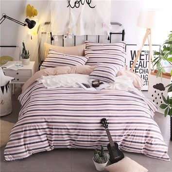 Purple Stripe Pattern 3/4pcs Bedding Sets/Bed Set/Bedclothes For Kids/Bed Linen Duvet Cover Bed Sheet Pillowcase,King Size Soft