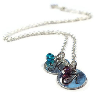 Couples Necklace, Mothers Necklace, Monogram, Initial, Birthstone, Family Jewelry, Personalized Jewelry, Bridal Shower Gift (Y16)