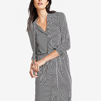Stripe Tie Neck Shirtdress | Ann Taylor