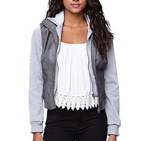 LA Hearts Fleece Sleeve Faux Leather Jacket at PacSun.com