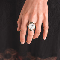 Moon Beam Marble Stone Ring (Gold)