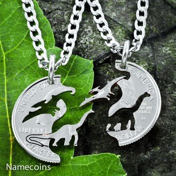 Dinosaur Best Friend Gift Necklaces, Pterodactyl and Brontosaurs by NameCoins