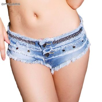 Hot Sale Summer 2018 Women Sexy Mini Denim Shorts Low Waist Street Pole Dance Jeans Shorts Blue Stretch Ladies Rivet Feminino