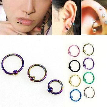 ac ICIKO2Q 8 pcs/set  Fake Nose Ring Lip Ear Nose Clip On Fake Piercing Nose Lip Hoop Rings Earrings Golden Rose Ball body jewelry Colorful