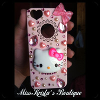Cute Hello Kitty Iphone 5 Case Light Pink with pearls bows and bling