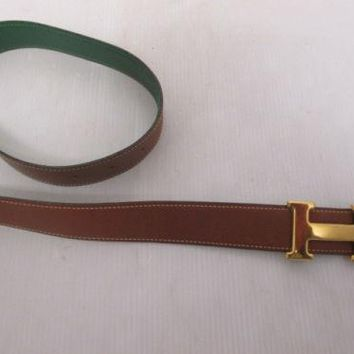 Authentic HERMES Belt H Logos Buckle Leather Size 70 Brown Gold Tone 101