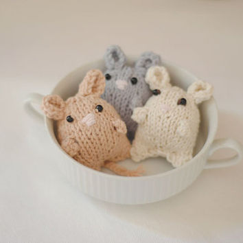 15%  SALE Christmas in Ju Hand Knit Mice - Knitted toy -  Knit Mouse Animal Stuffed - Childrens Stuffed Animal Doll - Grey, light brown and