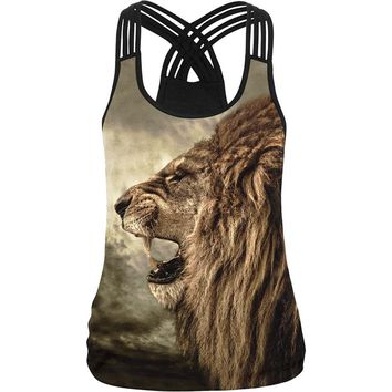 Women Camisole 3D Printed Fitness Gyms Elastic Harness Tank Top