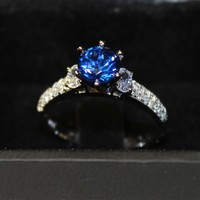 Sapphire Promise Ring Solitaire Blue Cubic Zirconia in dark box