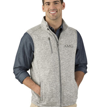 Monogrammed Vest, Monogram Vest, Charles River Apparel Men's Pacific Heathered Vest, His and Hers, Honeymoon, Gift for him