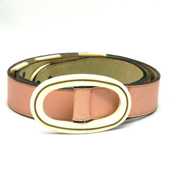 VALENTINO!!! Vintage 1980s 'Valentino' pink leather belt with attached ivory look detailing / Size 70cm / Made in Italy