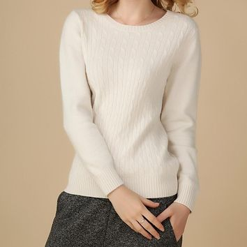 2017 New Winter Pure Cashmere Sweater Womens Sweater wool Crewneck pullovers Sweater Long Sleeved Bottoming Short