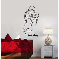 Vinyl Wall Decal Boy And Girl Romantic Word Love Story Stickers (3404ig)