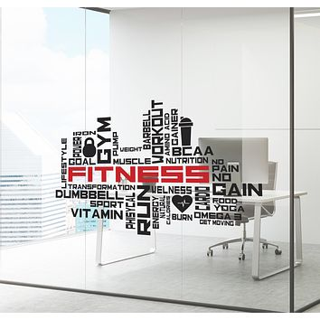 Wall Decal Sport Gym Fitness Workout Power Business Colored Interior zc020