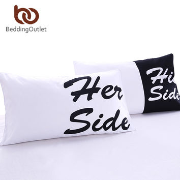 His Her Side Couple Pillow Cover
