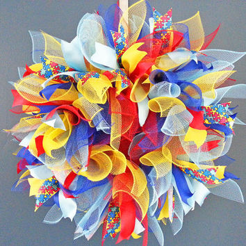 Autism Awareness Deco Mesh Sunburst Wreath
