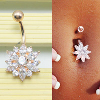 Belly Button Rings Crystal Flower Jewelry Navel Bar Body Piercing Gold + Gift Box