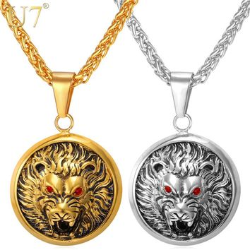 U7 Wolf Head Retro Punk Style Necklaces & Pendants Men Jewelry Cool Gold Color Stainless Steel Statement Necklace P757