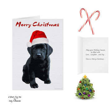 Black Lab Christmas Cards 10 - Labrador Christmas Cards - Black Lab Art - Christmas In July - Black Dog Christmas Card -Black Lab Santa -