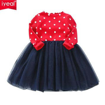 IYEAL Toddler Baby Girls Kids Knitted Tutu Dress Long Sleeve Princess Girls Clothes Spring Autumn Children Wedding Dresses 2-7Y