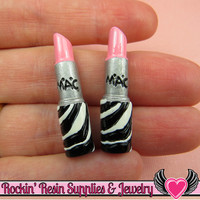 4 pcs Girly Zebra LIPSTICK Light Pink Make up Resin Decoden Flatback Cabochons 33x8mm