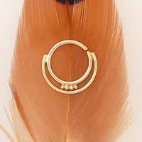 Ashima. 14k yellow gold Indian tribal gold septum ring. Belly button ring. Cartilage ring, nipple ring. Tribal gypsy. Beleaf Jewelry