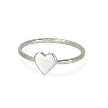 Tiny Solid Sterling Silver Heart Ring with Hammered Band