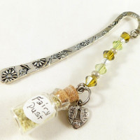 Fairy dust bottle bookmark, swarovski crystal glass beaded bookmark, charm bookmark, yellow bookmark, metal bookmark, book lover gift