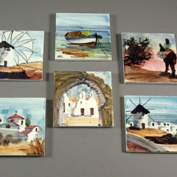 Greek Handpainted Artist Tile Coasters / Back Splash Decor // Set of 6