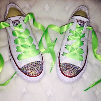 Chuck Taylor Converse AB Crystal Bedazzled Fronts Neon Green Laces