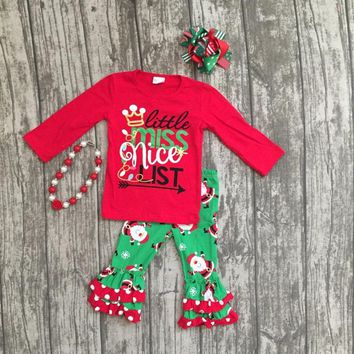 "4PC Girls ""Little Miss Nice List"" Christmas Boutique Outfit"