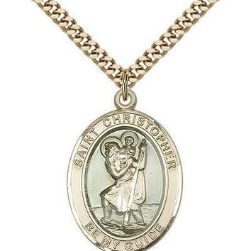 "Saint Christopher Medal For Men - Gold Filled Necklace On 24"" Chain - 30 Day ... 617759239270"