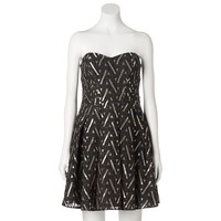 Lily Rose Geometric Strapless Open Work Dress - Juniors