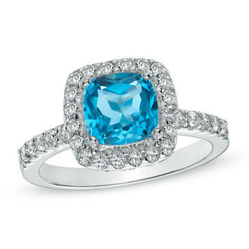 7.0mm Cushion-Cut Swiss Blue Topaz and Lab-Created White Sapphire Frame Ring in Sterling Silver - Size 7 - View All Rings - Zales