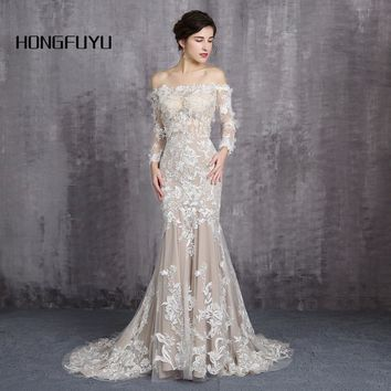 Ever Pretty Dress Boat Neck Long Sleeves Wedding Dresses 2018 Appliques Mermaid With Train Backless Wedding Dress  HFY111601