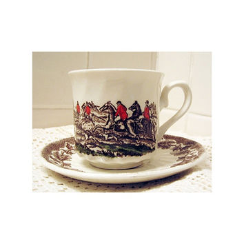 English Fox Hunt Cup & Saucer vintage 80s The Georgian Collection England Churchill Cream Red Brown Green Equestrian Horses Riding