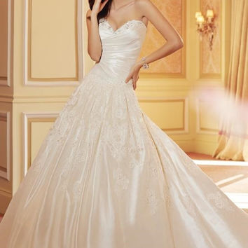 Sophia Tolli by Mon Cheri Y11421 Strapless Ruched Satin Bridal Gown